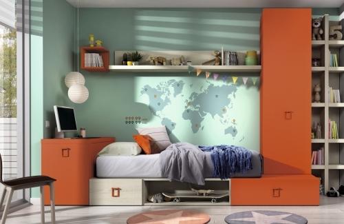 Dormitorio juvenil roble nordic-anaranjado