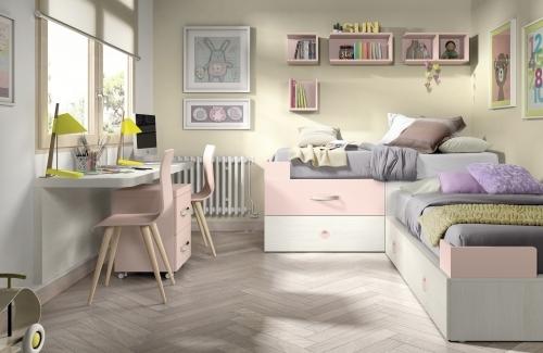 Dormitorio juvenil rosa nube-pino slim