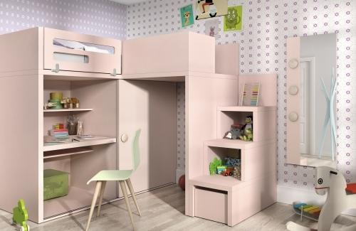 Dormitorio juvenil cama elevada en