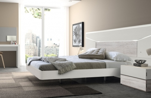 Dormitorio de matrimonio Elba (EOS) 305x115 de melamina en blanco poro rústico