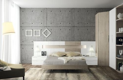 Dormitorio de matrimonio Isola (EOS) 284x110 en melamina nature y blanco con lacado y blanco poro
