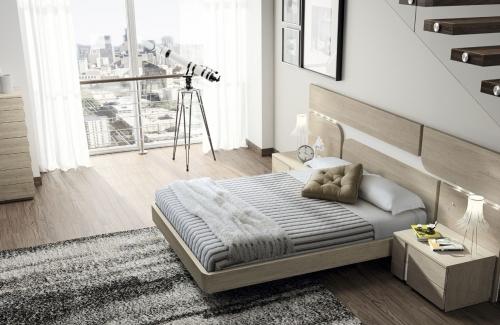 Dormitorio de matrimonio Genova (EOS) 284x112 en melamina nature y blanco poro