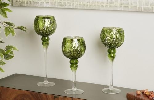 Copa vidrio hojas verde. Ref. 91-229