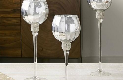 Copa vidrio brillantes plata Ref. 91-225