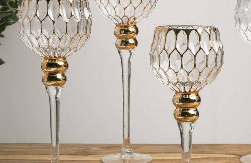 Copa vidrio hexágonos oro Ref. 91-232